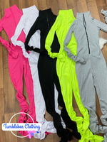 Top Notch Turtleneck Rib Knit Stacked Jumpsuit