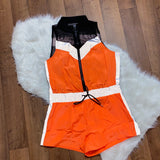 Caught Your Eye Reflective Romper - Orange
