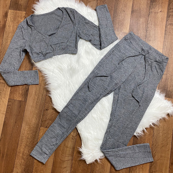 Get It Together Rib-Knit Pant Set - Grey