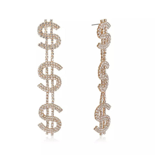 Secure The Bags Crystal Drop Earrings - Gold