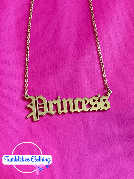 Princess Old English Pendant Necklace - Gold