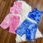 Emani Rib-Knit Tie Dye Biker Short Set