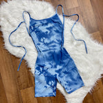 Aaliyah Open Tie Back Romper - Blue