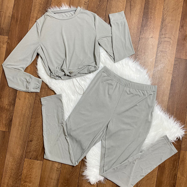 Drip Like Me Elastic Waist Ribbed Pant Set - Grey