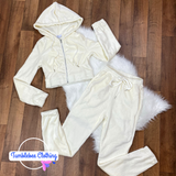 Let's Snuggle Up Fuzzy Velour Tracksuit - Ivory