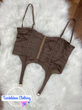 Booked & Busy Corset Top - Mocha