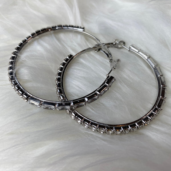 Come Through Rhinestone Hoop Earrings - Silver