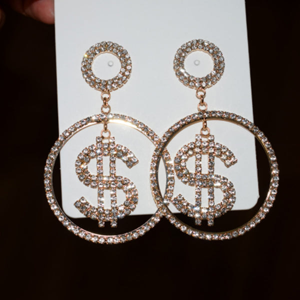 Dolla Dolla Rhinestone Hoop Earrings - Gold