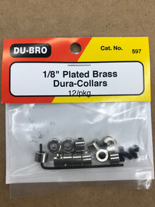 "Dubro 1/8"" Plated Brass Wheel Collars DUB597"