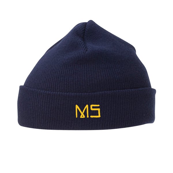 MS embroidered Navy Knit Beanie