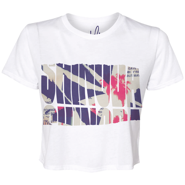Palms Ripped Logo Cropped Ladies Tee