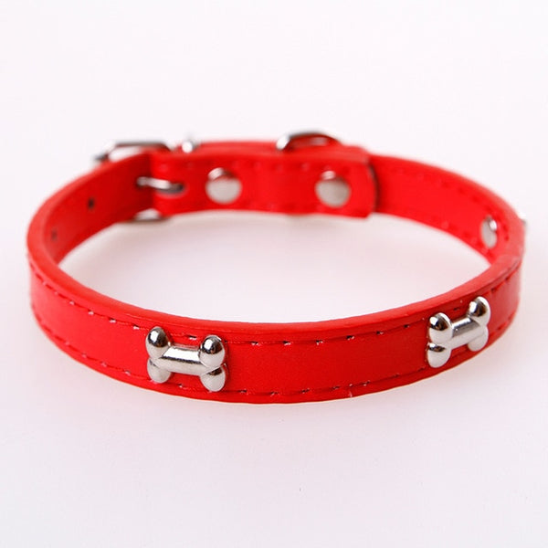 Bone Charm Leather Dog Collar