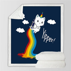 Rocket Unicorn Kitty Throw Blanket