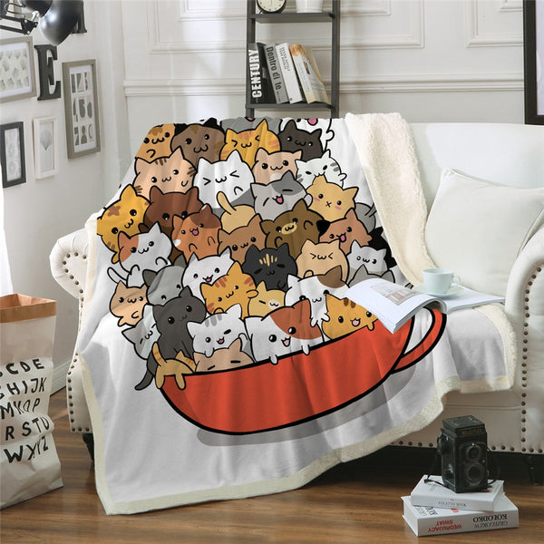 Cats in a Teacup Throw Blanket