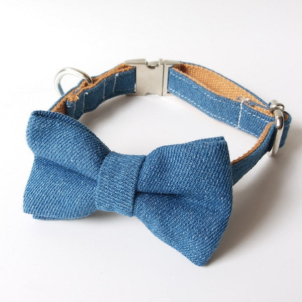 Jeans Bow Tie Dog Collar