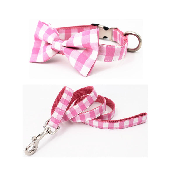 Pink Plaid Bow Tie Collar and Leash Set