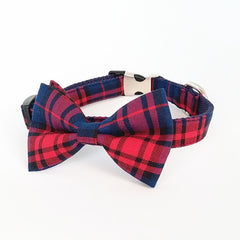 Custom Plaid Bow Tie Collar and Leash Set