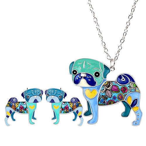 Pug Dog Earrings Necklace Set