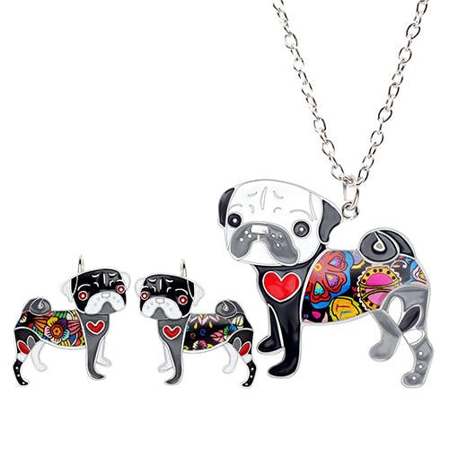 Pug Earrings & Pendant Set