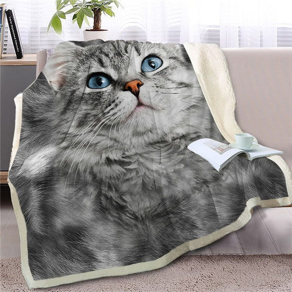 Gray Cat Throw Blanket