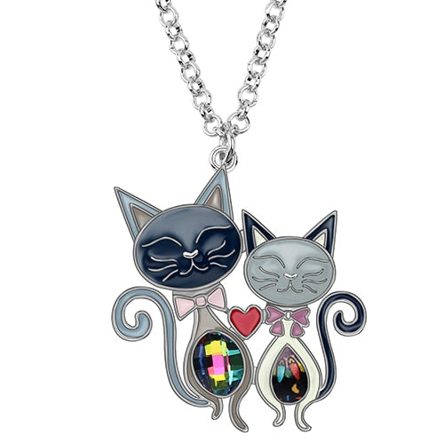 Double Cat Rhinestone Pendant