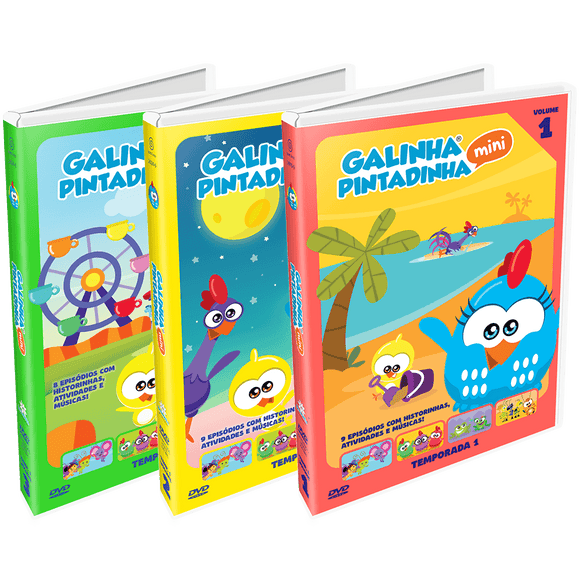 Combo DVDs Galinha Pintadinha Mini Vol. 1, 2 e 3