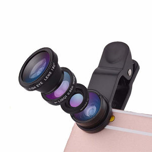 3 in 1 Wide Angle Macro Fisheye Lens Kit with Clip