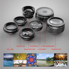 7 in 1 Universal Clip-On Cell Phone Lens Kit Kaleidoscope+Zoom Telephoto+Fisheye+Wide Angle+Macro+0.36X+CPL