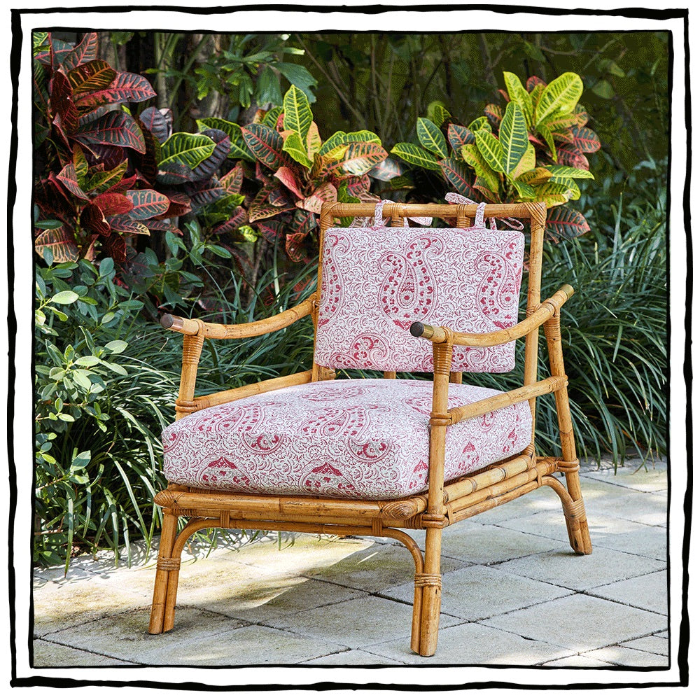 Bamboo Armchair with Saber-shape Arms and Brass Finials, by Maison Jardin