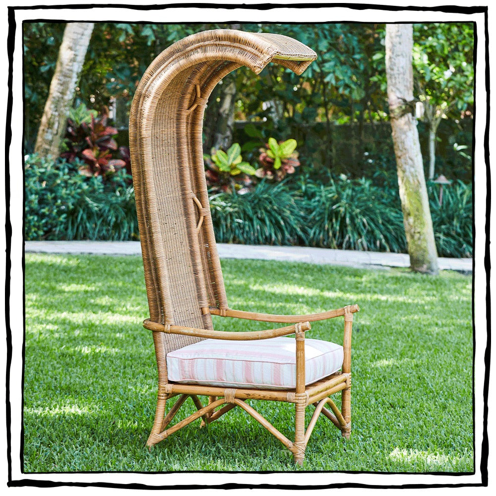 1970s Wicker and Bamboo Canopy Chair