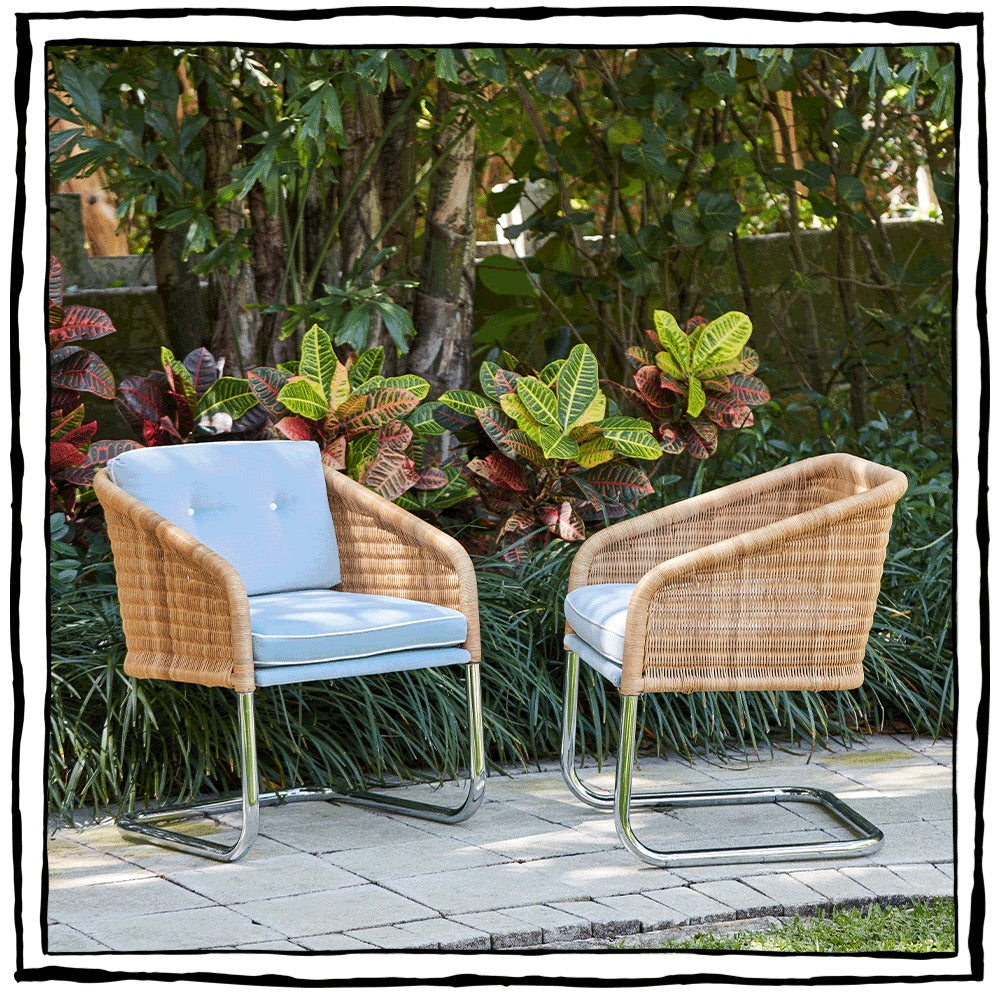Dutch Wicker & Chrome Armchairs