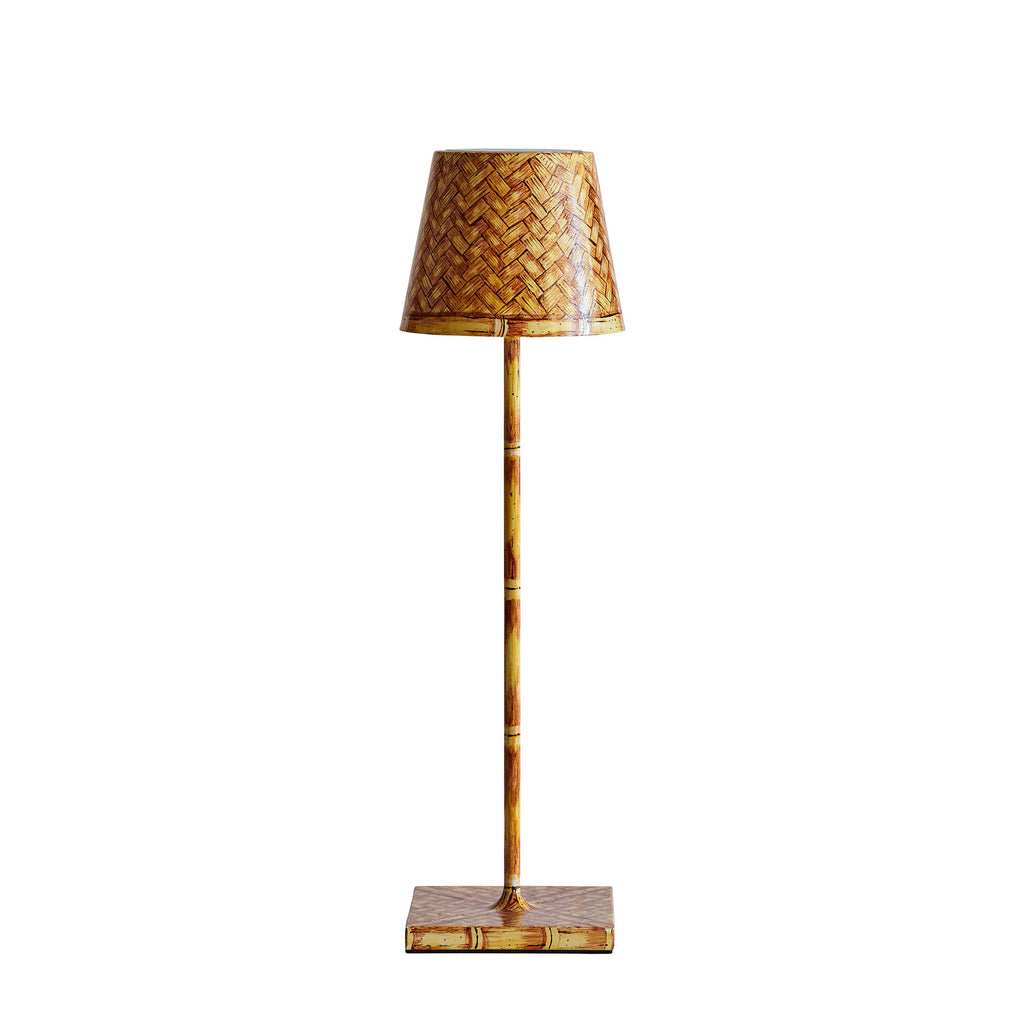 Hand-Painted Faux-Bamboo Wireless Table Lamps