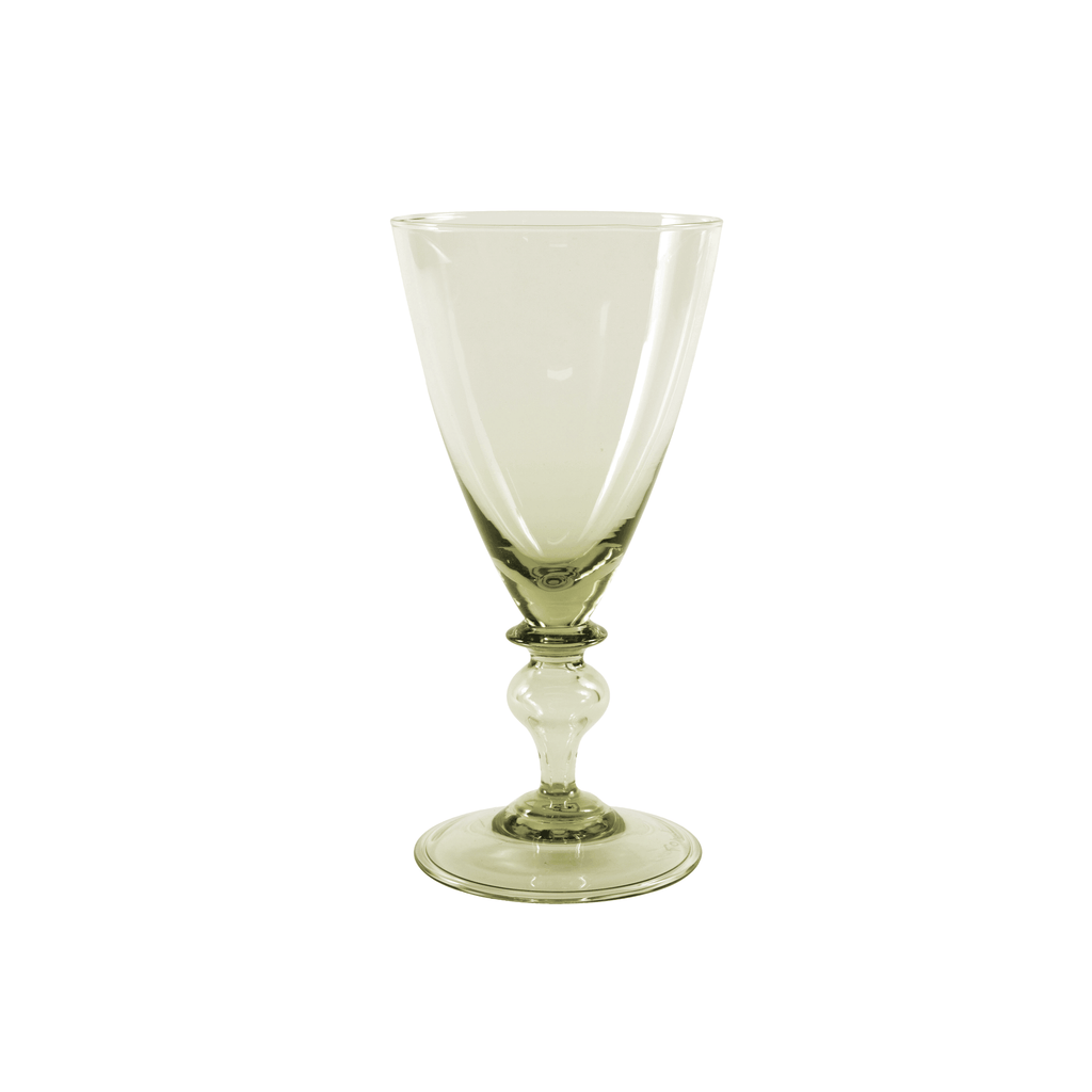Clear Green Wine Glass