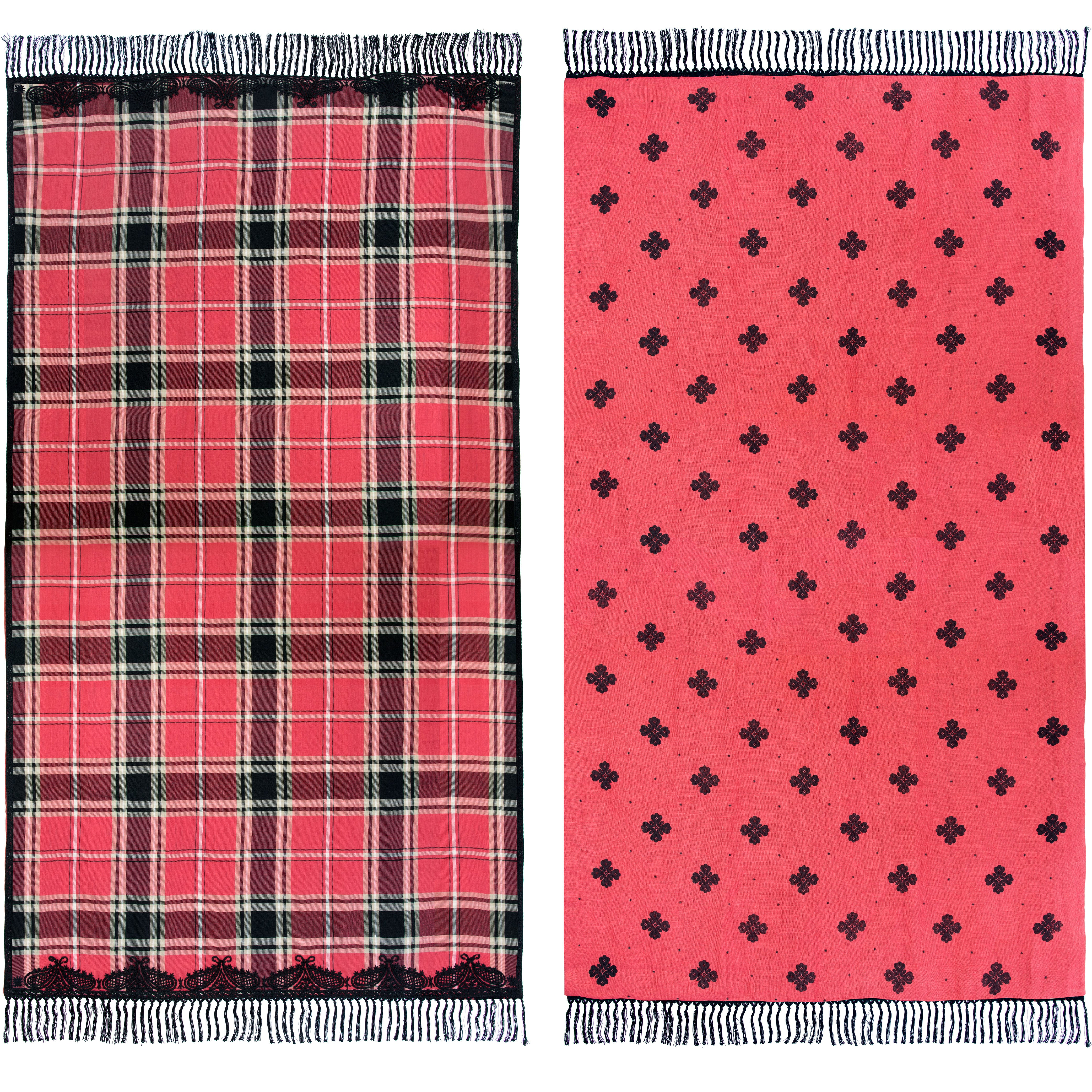 Image of Embroidered Tartan Fleurette Throw