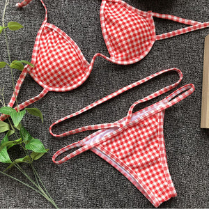 Red Casual For The Picnic Bikini Top - BAY BLING BEAUTY