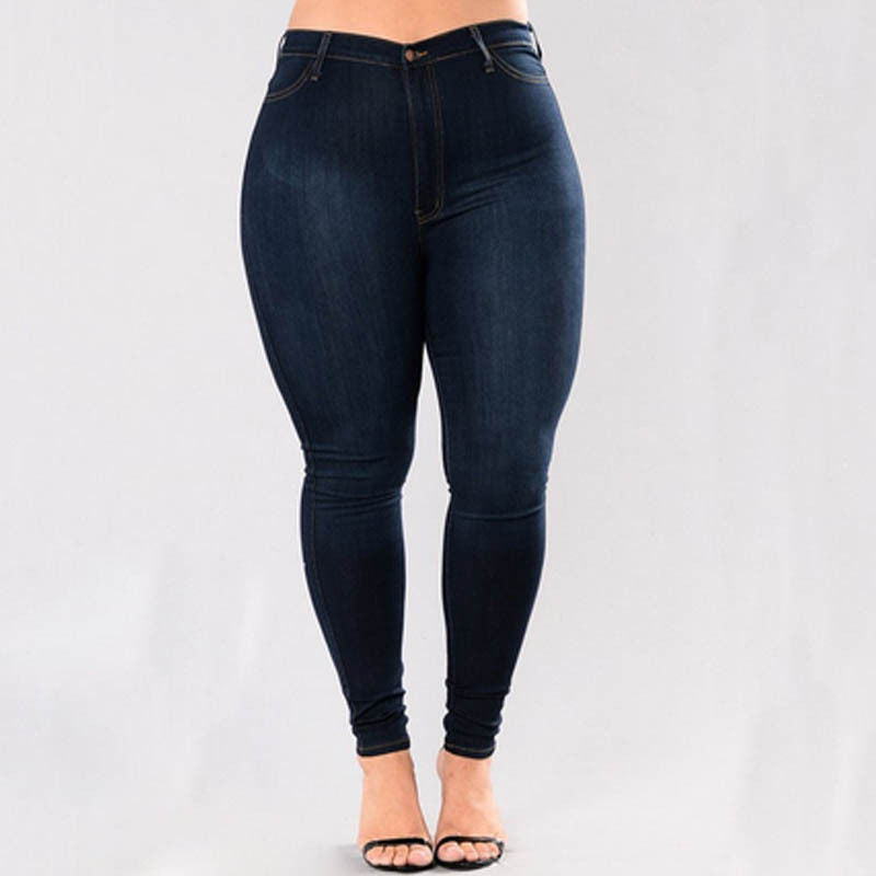298929820a0 Blue Denim Stretch Skinny Jeans for Plus Size Women - First Lane Shop ...