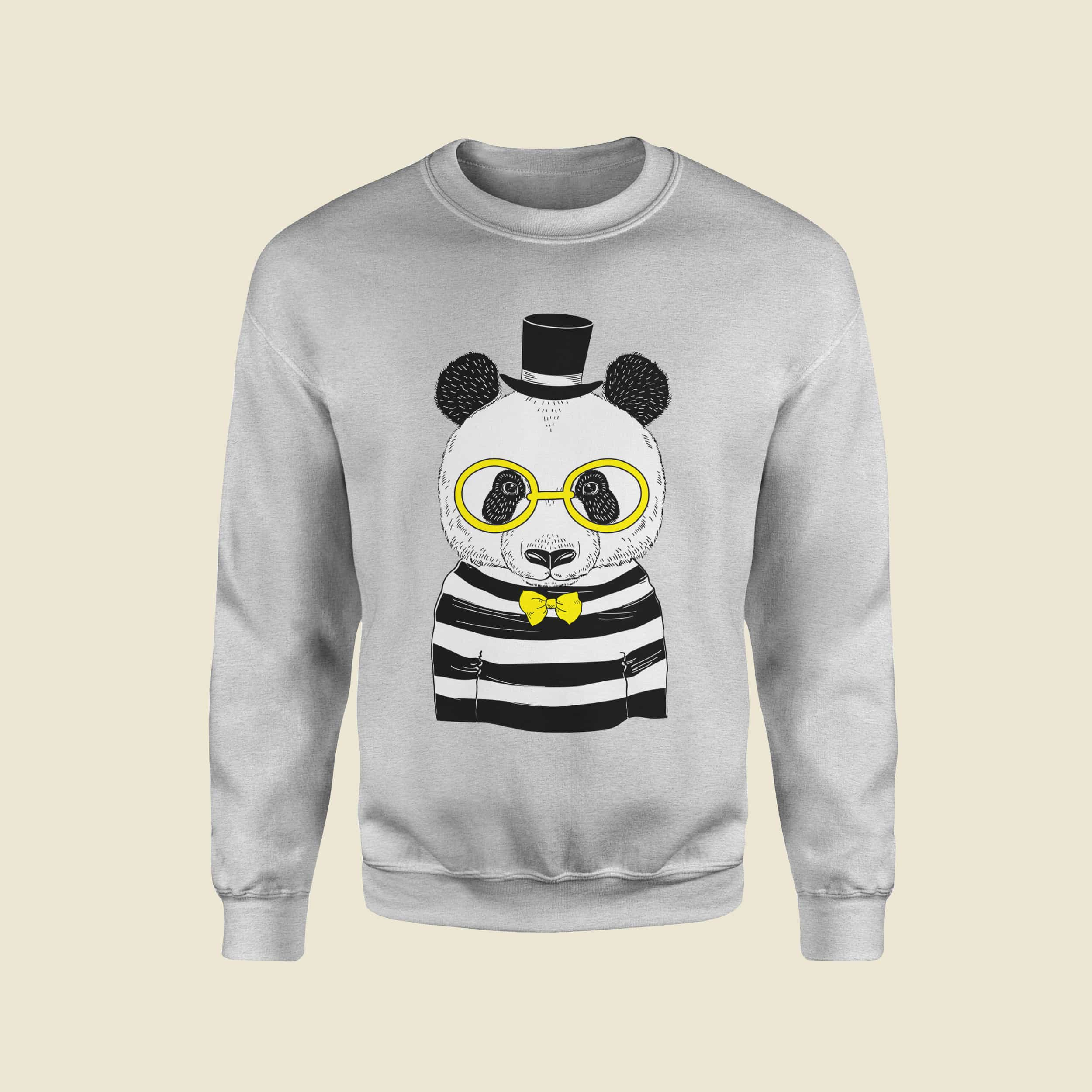 7d89708ef823 WOMEN PANDA DESIGN CREW NECK GREY SWEATSHIRT – Eagle   Rabbit