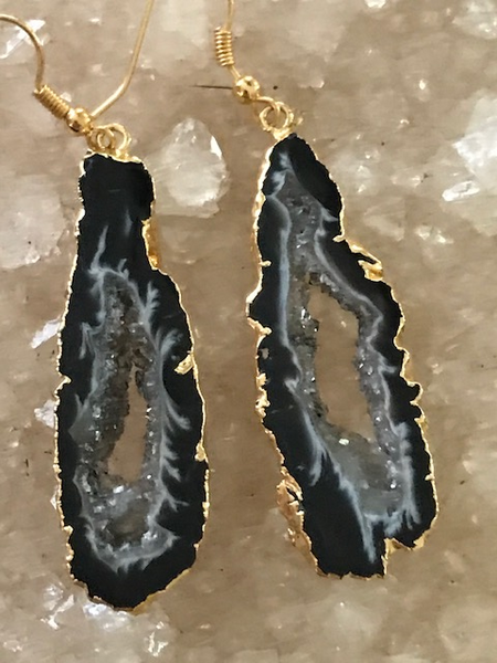 geode druzy slice earrings gold