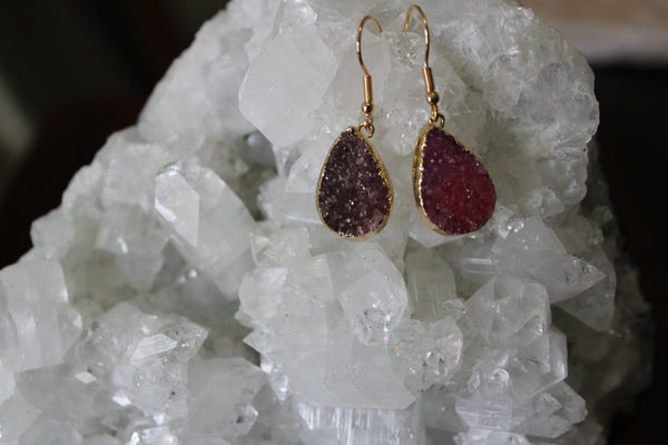 pink druzy tear drop earrings