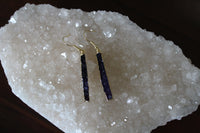 purple druzy bar earrings