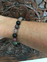 Multi-Colored Tourmaline Crystal Stretch Bracelet - Large Size Beads