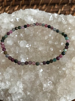 Multi-Colored Tourmaline Crystal Stretch Bracelet - Small Size Beads