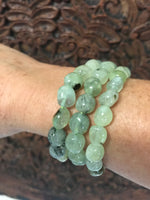 tumbled prehnite crystal stretch bracelet