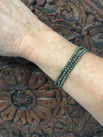 pyrite faceted crystal stretch bracelet
