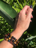 tiger's eye multi-color crystal stretch bracelet