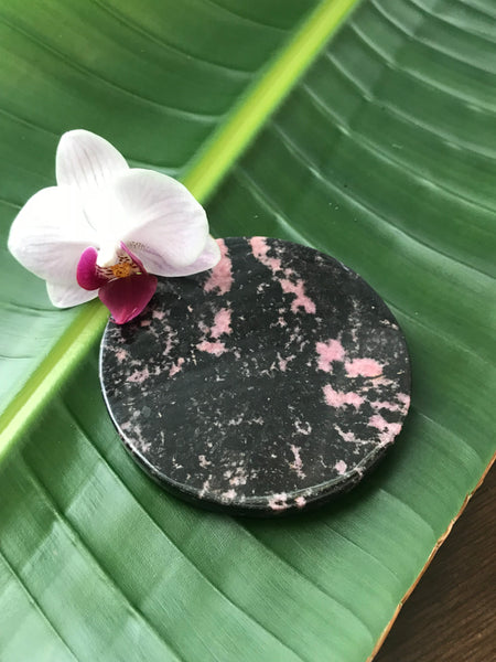 rhodonite crystal coasters