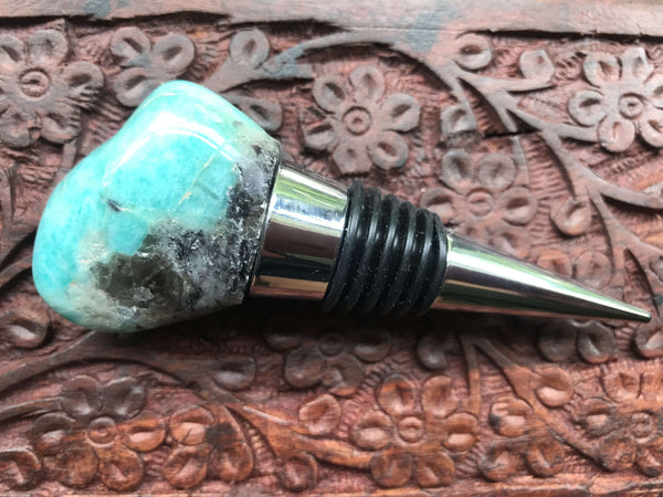 amazonite crystal wine stopper