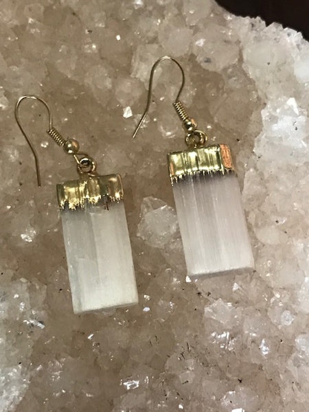 selenite earrings