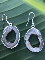 geode druzy silver earrings