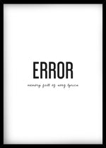 Error – Memory Full of Song Lyrics -juliste kehystettynä